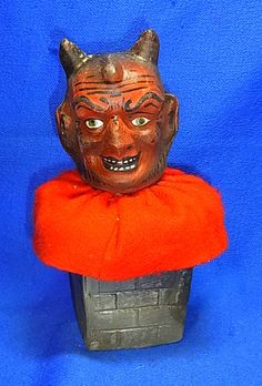 """Vintage German Candy Container Devil Head """"Krampus"""", Germany. (He visited the bad children, a German Christmas folklore tradition.)"""