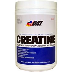 GAT Creatine Monohydrate 1000 g | Regular Price: $41.99, Sale Price: TOO LOW TO SHOW! | OvernightSupplements.com | #onSale #supplements #specials #GAT(German) #Creatine  | MUSCLE TORQUE STAMINA and SIZE GAT Creatine Monohydrate is tested for 99 9 purity a fact validaded by high performance liquid chromatography HPLC Creatine Monohydrate is the most scientifically studied form of creatine available Creatine is a naturally occuring metabolite found in muscle tissue It helps rap