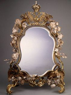 JEWELS OF THE ROMANOVS~ The mirror with Russian Imperial coat of arms, ordered in London in 1730s. Probably was ordered by Empress Elizabeth I, daughter of Peter The Great, to the wedding of her nephew future Peter III and future Catherine The Great.