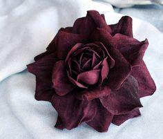 Violet Leather Rose Flower Brooch