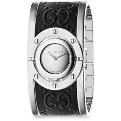 Gucci Twirl Stainless Steel Guccissima and Bee Leather Bangle Analog... ($945) ❤ liked on Polyvore featuring jewelry, watches, leather wrist watch, stainless steel watches, leather watches, water resistant watches and hinged bracelet
