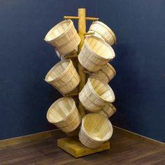 Camp Bow Wow Rustic Log Basket Display Tree