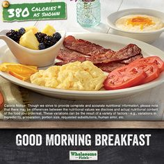 Have a good morning with a Cracker Barrel Wholesome Fixin's Good Morning Breakfast. It's two scrambled egg beaters, turkey bacon or turkey sausage, cheese grits, sliced tomatoes and a side of fresh fruit. All for 380 calories as shown.
