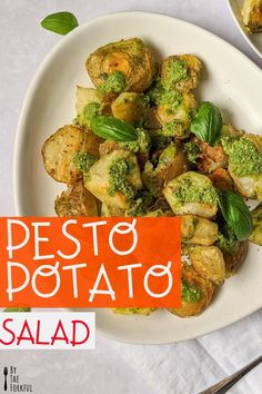 Easy crushed roasted pesto potatoes! This healthy vegan-friendly dish is perfect for summer and is made with a fresh basil pesto.