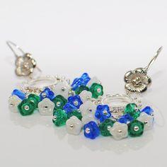 Flower Chandelier Earrings Glimmery Flowerlets by LavenderRabbit, $15.00