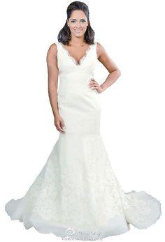 FairOnly Deep V-neck Mermaid Wedding Dresses Bridal Gown Size 6 8 10 12 14 16