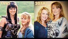 Xena and Gabrielle / Lucy Lawless and Renee O'Connor - Then and now Lucy Lawless, Boris Vallejo, Robin Tunney, Paddy Kelly, Xena Warrior Princess, Cosplay Outfits, Hercules, Classic Looks, Movies And Tv Shows