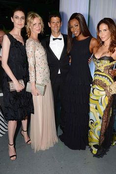 Novak Djokovic Foundation Gala Dinner, London - July 8 2013  Novak Djokovic with his guests, including Erin O'Connor, Caroline Winberg and Naomi Campbell.