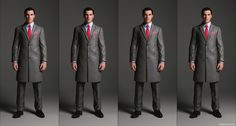 Overcoat with notched lapel and pocket variations