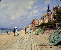 The Beach at Trouville by Claude Monet in oil on canvas, done in Now in the Wadsworth Atheneum. Find a fine art print of this Claude Monet painting. Pierre Auguste Renoir, Claude Monet, Camille Pissarro, Edgar Degas, Manet, Monet Paintings, Landscape Paintings, Landscape Art, Artist Monet
