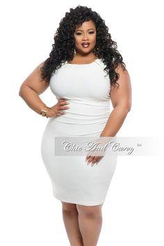 Outlet Plus Size Bodycon Slanted Peplum Dress In White 1x 2x 3x ...