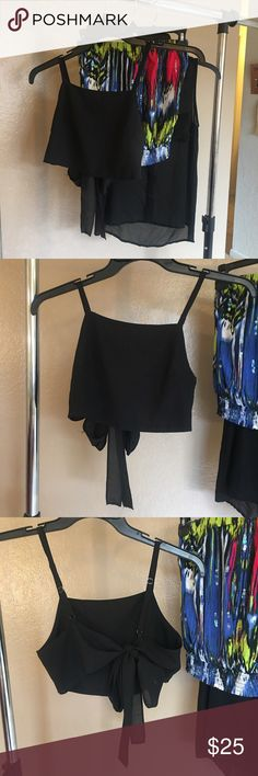Sleeveless xs Tops Bundle NWOT 1. Bow Halter Crop Top. Size: one size fits all, ties in back, adjustable straps  2. Strapless Tube Top. Size: xs 3. Sheer Sleeveless Collared Button Down. Size: xs Feel free to message me with any questions or for bundle discount inquiries. Prices are negotiable, offers are accepted through offer Button! Thanks for viewing my items!  -Styles by Class A (Miss Beth) Tops Crop Tops