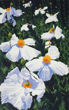 Gordon Mortensen : Matilija Poppies, Woodcut reduction print, 2002