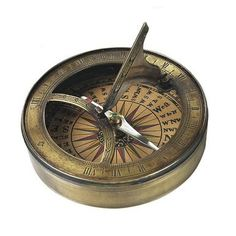 Compass with sundial. century Sundial and Compass at one. This compass has hand colored reproduction compass cards and it aged finish in hand-buffed duotone Sundial Tattoo, Solar Time, Mirror Wall Clock, Nautical Compass, Correct Time, Museum Store, Collectible Figurines, Corporate Gifts, 18th Century