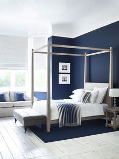 Wardley Four Poster Bed In Oak Simple And Elegant Shakerstyle within sizing 2000 X 2668 Blue White Bedroom Design - The master bedroom could be the place Dark Blue Bedroom Walls, Navy Master Bedroom, Navy Bedrooms, White Bedroom Design, Blue Bedroom Decor, Bedroom Paint Colors, Blue Rooms, Girls Bedroom, Bedroom Ideas