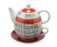 Juego de té individual de porcelana - gris y rojo