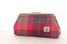 Raspberry+Check+Harris+Tweed+Clutch+Bag