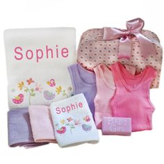 Girls Personalised Bath Towel set Little Birdie This gorgeous Little Birdie design personalised girl's bath towel and face cloth set is embroidered with the new baby's name, this personalised baby gift hamper also contains 2 coloured face cloths, 3 x colo Bath Towel Sets, Bath Towels, Baby Gift Hampers, New Baby Names, Baby Suit, Bath Girls, Little Birdie, Baby Massage, Personalized Baby Gifts