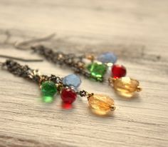 Colorful Cluster Drop Earrings Gemstone Dangle Earrings by ViaLove, $30.00