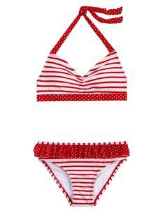 Girls Clothing   Bikinis   Stripe/Dot Bikini Swimsuit!