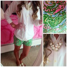 Preppy spring outfit - love the Lilly alligator shorts!