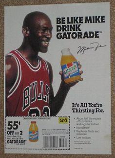 Michael Jordan Original Newspaper Ad - Be Like Mike - Drink Gatorade - Bulls - 1992 Mike Jordan, Michael Jordan Basketball, Jabari Parker, Michael Jordan Photos, Tv Adverts, Like Mike, Nolan Ryan, Sports Figures, Energy Drinks