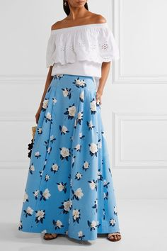 Draper James - Pleated Printed Cotton-piqué Maxi Skirt - Light blue - US Reese Witherspoon, Cotton Slip, Printed Cotton, Nashville, Draper James, Rock, Designer, Off The Shoulder, Broderie Anglaise