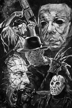 Horror Movie Villains fine art print featuring Jason, Freddy Krueger, Leatherface, Pinhead and Michael Myers - Slasher Movies, Horror Movie Characters, Horror Icons, Horror Movie Posters, Arte Punk, Horror Pictures, Horror Artwork, Images Gif, Arte Obscura