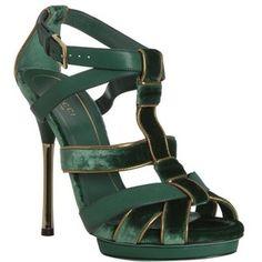 Gucci Green Piped Velvet 'malika' Platform Sandals