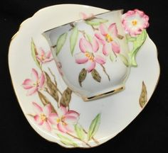 Antique Royal Standard England Flower Handle Triangle Tea Cup and Saucer