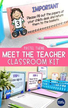 What makes a parent love a teacher management pinterest back to school meet the teacher kit editable forms signs labels pastels spiritdancerdesigns Gallery