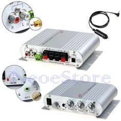 Mini Stereo Amplifier Digital HiFi Audio AMP Super Bass For MP3 IPod Aux Car US