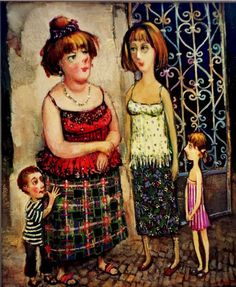 "Lado Tevdoradze His works are on display in the permanent exhibition in Gallery 'Tevdore"" together with Guga Tevdoradze and Khidasheli. El baul que no tenia mi abuela. Georgie, Carl Larsson, Baba Yaga, Art Station, Naive Art, Mother And Child, Funny Art, Figurative Art, Traditional Art"