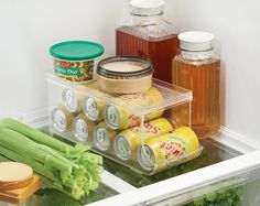 Organize your fridge with a convenient can holder that'll store your soda pop.
