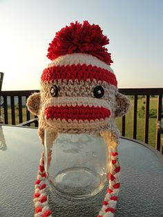 Newborn Sock Monkey Hat pattern by Lisa Victoria @ YarnChick40