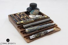 Cherry or Walnut wood Fountain Pen tray with Desk Organizer. Slot for extra nibs and ink. Pen tray. gift for writer fancy pen gift for boss
