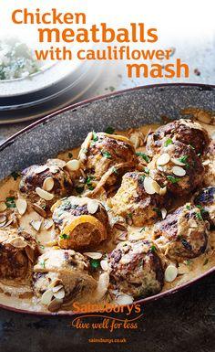 Chicken meatballs and cauliflower mash makes the BEST skinny comfort food. Uk Recipes, World Recipes, Healthy Recipes, Recipies, Cauliflower Mash, Dairy Free Eggs, Yummy Chicken Recipes, Chicken Meatballs, Fruit And Veg