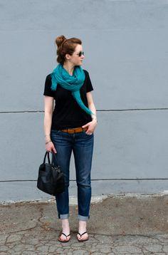 black T / teal scarf / cognac belt / rolled denim / black patent sandals // member Cynthia Brown