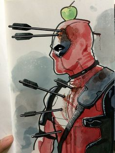 Deadpool in watercolor - Marvel Comics Films Marvel, Marvel Vs, Marvel Dc Comics, Marvel Heroes, Marvel Cinematic, Captain Marvel, Heros Comics, Bd Comics, Comic Book Characters