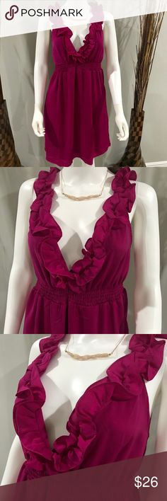 Francesca fuschia ruffle dress Adorable dress!! Brand new with tags!! Never worn does not fit me:(.. 100 percent polyester 36-36 1/2 inches long Francesca's Collections Dresses
