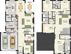 Plano de lujosa y amplia casa moderna con 4 dormitorios-2