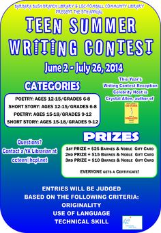 Photography and writing contests for teens?