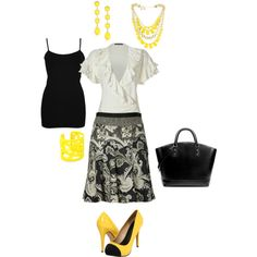 """Black, White, and Yellow Business Chic"" by lennyrie on Polyvore"