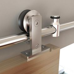 This stainless steel rolling barn door hardware will provide durability and sophistication to your rolling door with a more modern look. Sliding Barn Door Track, Sliding Door Systems, Double Barn Doors, Sliding Barn Door Hardware, Sliding Doors, Door Latches, Rustic Hardware, Door Hinges, Houses Architecture