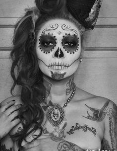 Skull Face Girl (Black & White)