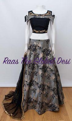 choli-Raas The Global The Global Desi Designer Bridal Lehenga, Indian Bridal Lehenga, Designer Gowns, Indian Designer Wear, Lehnga Dress, Lehenga Gown, Lehenga Blouse, Pattu Saree Blouse Designs, Lehenga Designs