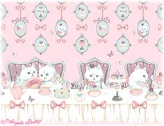 Angelic Pretty border print in collaboration with Imai Kira   猫のお茶会 = Neko no Ochakai = Tea Party of cats