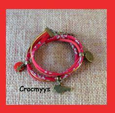 Bracelet liberty capel rouge et sequin : Bracelet par crocmyys