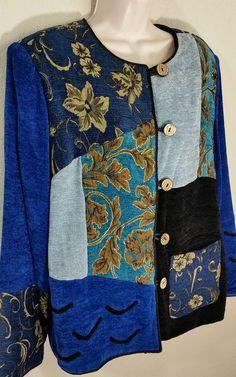 Julia Kim Chenille Tapestry Wearable Art Jacket Blue Sz L EUC #JuliaKim #BasicJacket