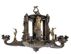 Lustre Autrichien Décor « barbare » de crocodiles, bouquetins, serpents et divinités celtes Début du XXe siècle Bronze doré et patiné H : 55 cm ; 78 cm - Galerie Lumières - GL00094